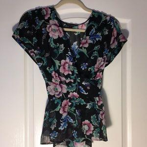 Flowered semi-sheer tiewaist blouse from Express